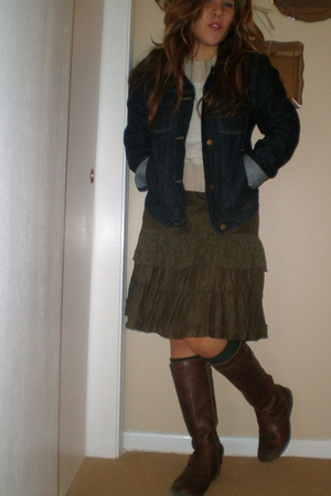 Gap 1969 jacket - skirt - American Eagle sweater - HUE socks - boots