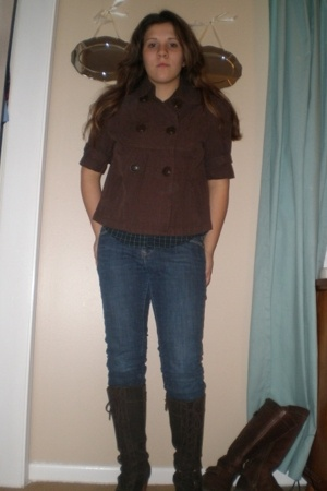 jacket - American Eagle blouse - Old Navy jeans - Frye boots