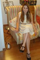victorian pull&bear dress - t-strap Marshalls heels - skinny pull&bear belt - ha