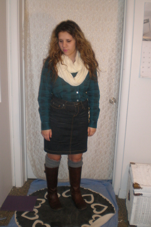 blue plaid blouse - blue Target skirt - gray Urban Outfitters socks - brown boot