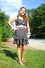 Black-dress-white-ruffle-ribbon-cuffs-accessories-white-borrow-from-a-friend