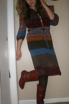 red Target dress - brown Betsey Johnson tights - brown boots - gold necklace