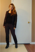 black dillards boots - black sequins White House Black Market blazer