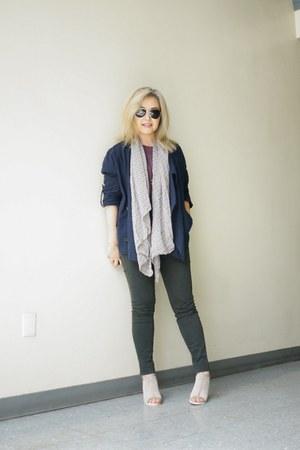 navy linen love tree jacket - unknown brand scarf