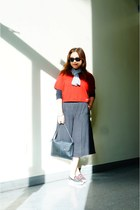 red cropped hollister sweater - Tutilo bag - ecote pants