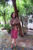 Express skirt - ankle vagabond boots - brown leather Sylvia Y Mario jacket
