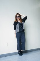 colorblock knit Absolutely cardigan - sam edelman boots - quay sunglasses