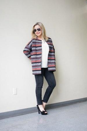 brocade Elodie coat - black ankle Zara jeans - Zara top