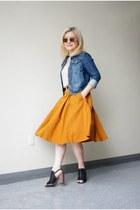 denim jou jou jacket - Kelsi Dagger sandals - mustard midi Zara skirt