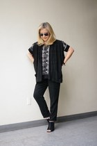 black linen For Joseph vest - Rich and Skinny pants - knit trimmed Lush top