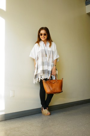white big BDG shirt - brown leather Emma & Sophie bag - Fire Los Angeles pants