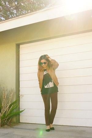 camel leather asos jacket - quay sunglasses - Sachin & Babi pants