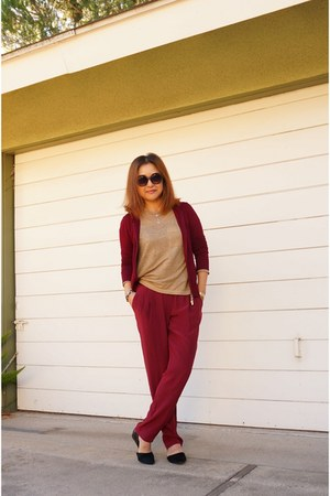 maroon hoodie Hale Bob jacket - quay sunglasses - maroon silk intermix pants