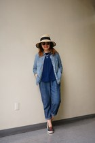 Lucky Brand necklace - wide brim sun SCALA hat - chambray Lucky Brand shirt