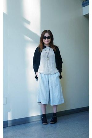 SOY shirt - Silence  Noise sweater - black sweater Zara cardigan - ecote pants