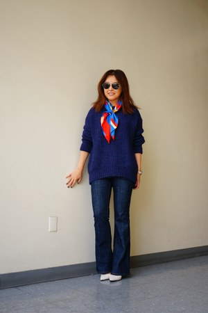 Zara jeans - navy oversize Zara sweater - silk J Crew scarf