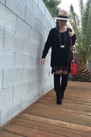 Steve Madden boots - brandy melville dress - asos hat - Celine bag
