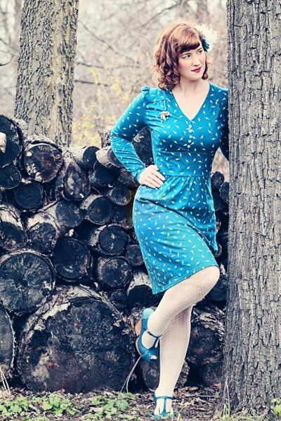 blue organic cotton People Tree dress - off white Worthington tights