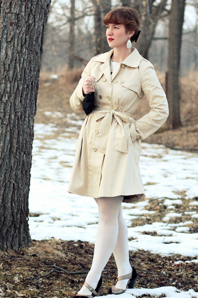 beige trench coat Freeway coat - black striped matty m dress