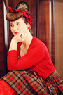 Brown-plaid-vintage-dress-ruby-red-cropped-modcloth-cardigan