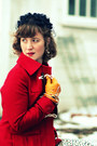Red-wool-tulle-coat-ivory-raffine-boutique-dress-navy-vintage-hat