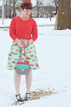 orange polka dot merona cardigan - aquamarine pie print modcloth dress