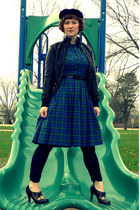 blue plaid vintage dress - black vintage hat - black faux leather xhilaration ja