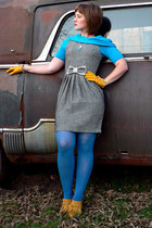 black modcloth dress - blue cowl neck Express sweater - blue HUE tights