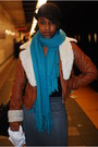 Turquoise-blue-scarf-tawny-jacket-gray-skirt-black-hat