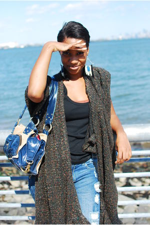black top - brown handmade scarf - blue Urban Outfitters earrings