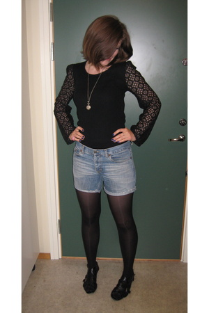 vintage top - old shorts - shoes