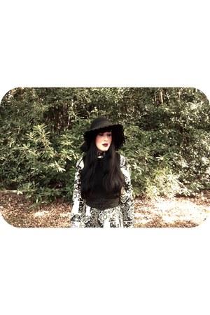black vintage boots - black vintage 70s dress - black Miss Selfridge coat