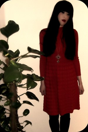 ruby red red wool dress vintage 70s dress - black Biba boots