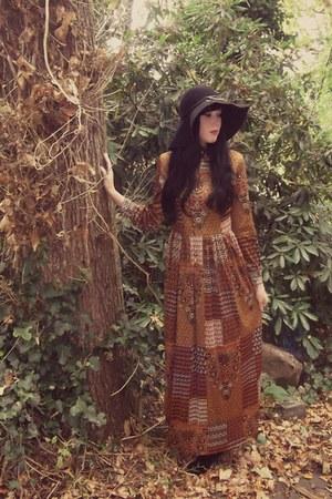 black vintage boots - bronze vintage 70s dress - black H&M hat