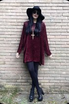 gold Topshop necklace - ruby red vintage 90s dress - black H&M hat