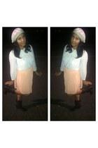 pleated skirt Forever21 skirt - boots - H&M hat - Forever21 blouse