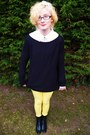 Black-leather-pixie-george-boots-yellow-george-jeans