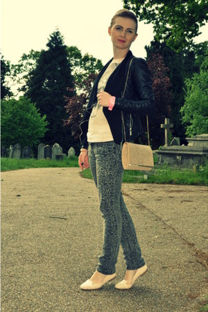 new look jacket - new look bag - Peacocks pants - layers paris t-shirt