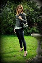 H&M jacket - Quazi bag - Bershka heels - Ebay pants - Primark top