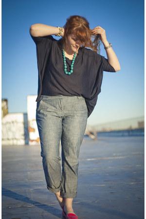 hot pink Target flats - beige H&M sweater - navy H&M shirt