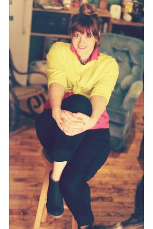 hot pink grandma blouse - black Uniqlo jeans - yellow Forever 21 sweater
