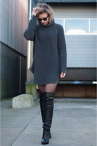dark gray hope sweater - black & other stories boots - black vintage shorts
