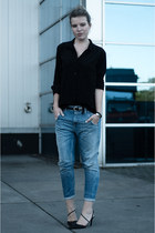 light blue Diesel jeans - black Vero Moda shirt - black sarenza heels