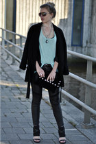 black Zara coat - black H&M leggings - black Frenchonista bag
