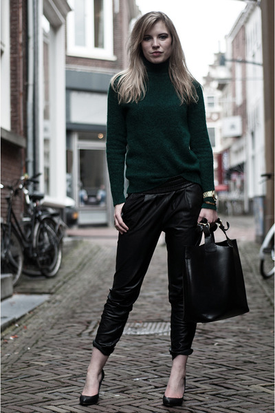 gold Michael Kors watch - forest green H&M Trend sweater - black Zara bag