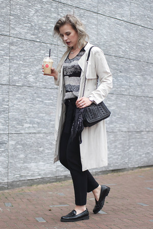 black asos scarf - beige S Oliver coat - black Zara bag - black knit Mango vest