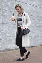 black asos scarf - beige S Oliver coat - black Zara bag - black knit Mango vest