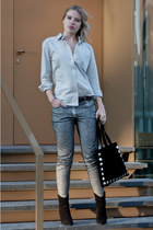 silver pants metallic H&M jeans - black ankle cowboy Mango boots