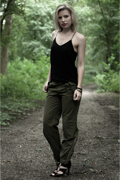 black Zara sandals - army green Nelly pants - black H&M Trend vest