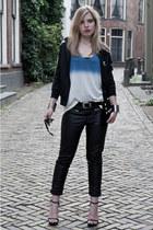 black H&M pants - black Frenchonista bag - black Zara heels - white Zara t-shirt